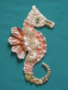 Seahorse Wall Decor Seahorse Shell Art Beach by TheSleepySeahorse #etsyart #floridaartist #seasidehomedecor