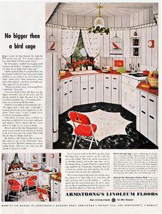 Vintage Armstrong Linoleum Advertisement, 1950, Bird Cage Kitchen Design.
