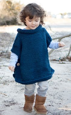 Free Knitting Pattern for Easy Kid's Poncho - Knit in 2 pieces and buttoned up s. Free Knitting Pattern for Easy Kid's Poncho - Knit in 2 pieces and buttoned up sides with a rolled neck created by picki. Free Knit Poncho Pattern, Poncho Knitting Patterns, Crochet Poncho, Knit Patterns, Knitting Stitches, Free Pattern, Toddler Knitting Patterns Free, Crochet Mittens, Crochet Baby