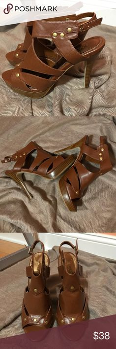 """Bakers Candee Heels Heels from Bakers. Brand NEW! Stacked 5"""" heel and 1"""" platform. Brass hardware. Color: Tan Size: 9.5M (Run a bit small, they fit like a 9M) Bakers Shoes Heels"""