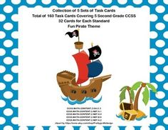 This collection of 160 task cards is a great way to provide engaging practice and review for your second grade students. The theme is a fun pirate theme that has both genders clearly represented. 5 Sets of Task Cards Covering 5 Second Grade Math CCSS.