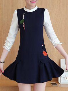 Long Sleeve Embroidery Slim Dress_Long Sleeve Dress_DRESSES_Wholesale clothing…