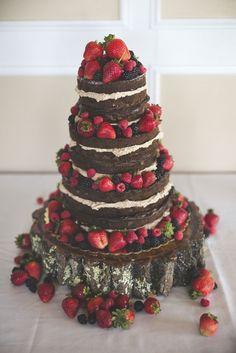 Naked Chocolate Wedding Cake With Fruit via Rockhill Studio & Joe's Cakes - Deer Pearl Flowers / http://www.deerpearlflowers.com/wedding-cakes-desserts/naked-chocolate-wedding-cake-with-fruit-via-rockhill-studio-joes-cakes/