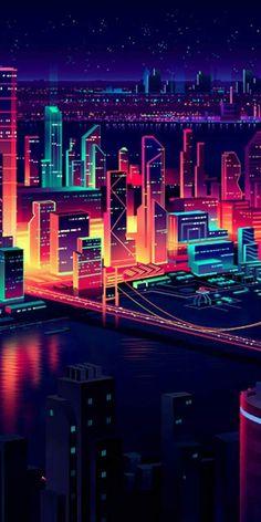 vaporwave city Mobile and Desktop Wallp - vaporwave Neon Wallpaper, Screen Wallpaper, Wallpaper Backgrounds, Iphone Wallpaper, Mobile Wallpaper, Grafik Art, Neon Aesthetic, Cellphone Wallpaper, Cute Wallpapers