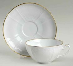 Golden Solitude Flat Cup & Saucer Set by Mottahedeh | Replacements, Ltd. Pattern Code, Solid Background, Vegetable Bowl, China Dinnerware, Cup And Saucer Set, Solitude, White Porcelain, Tea Cups, Flat