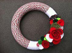 Christmas Wreath. Festive Wreath. Holiday Wreath. Felt and Yarn Wreath.