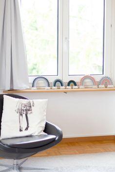 Line of fibre art rainbows on windowsill Boho Nursery, Nursery Neutral, Nursery Wall Art, Nursery Decor, Room Decor, Rainbow Nursery, Pink Wall Art, Rainbow Painting, Rainbow Print