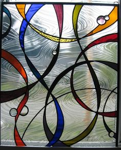 Abstract stained glass window by CKGLASSWORKS on Etsy, $500.00