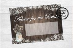 Advice for the Bride Rustic Bridal Shower Game Wedding Printable Baby's Breath Floral,Lace Bridal Shower,Mason Jar,Floral,Digital File