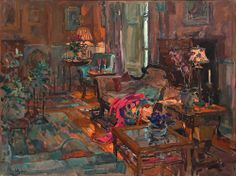 Susan Ryder - Drawing room with pink shawl
