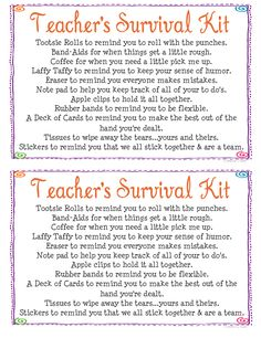 teacher survival kits - Google Search