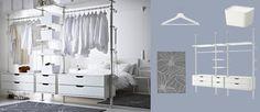 Solución de almacenaje STOLMEN con cajones, estantes y barras para ropa, todo en blanco