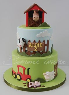 A simple but sweet farmyard design, made for a little boy celebrating his birthday recently. Farm Birthday Cakes, Animal Birthday Cakes, Farm Animal Birthday, Baby Birthday, Farm Cake, Barnyard Cake, Barnyard Party, Farm Party, Cakes For Boys
