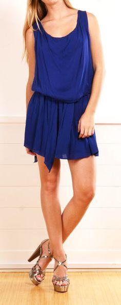 Belted Blue Dress.