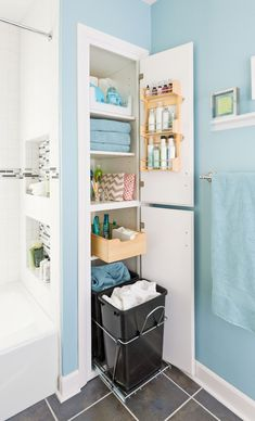 Clothes hamper/linen closet on wheels to make use of a deep but narrow space