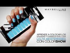 Cómo colocar Stickers en uñas con COLORSHOW de Maybelline y Nailistas.com. Lolita Mediterránea.