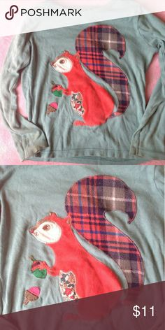 Mini Boden Squirrel Tee Sz 3/4. Play for staining on sleeves. Not sure if it'll come out Mini Boden Shirts & Tops Tees - Long Sleeve