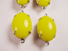 Vintage Yellow Oval 16x11 Glass Connector Charms by brassgoldbeads, $3.60