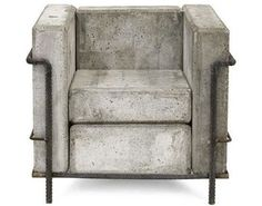 concrete iconic Le Corbusier Grand Comfort Chair modern outdoor chairs by Stefan Zwicky
