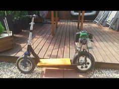 How to make gas skateboard scooter Go!! Hulajnoga spalinowa Silnik od kosy 가솔린 스쿠터 menyabit - YouTube Gas Scooter, Mopeds, Mini Bike, Go Kart, Tricycle, Garage, Board, Karting, Carport Garage