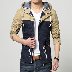 Aliexpress.com : Buy High end Hooded Men Jacket Spring 2015 Fashion Patchwork Korean Slim Brand Men's Jackets Outdoor Casual Men Coat Free Shipping from Reliable coat cashmere suppliers on E-Express  | Alibaba Group