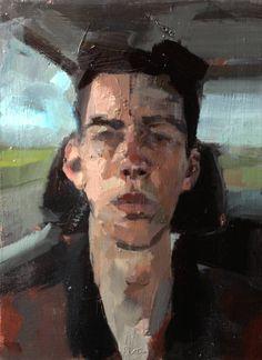 "Saatchi Art Artist Catherine Tyler Graffam; Painting, ""self portrait in 100 degree car"" #art"