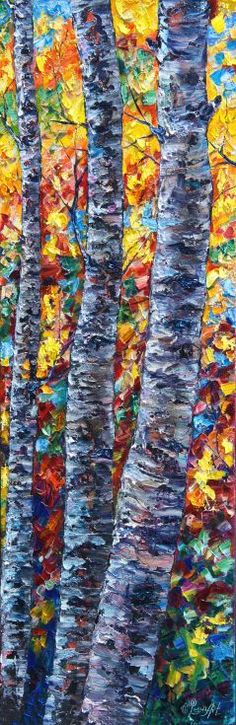 ARTFINDER: Amber Forest (only  1 week) by Lena  Owens - Only 1 week available.  Request a custom order and have something made just for you. Autumn Birches — PALETTE KNIFE Modern Fine Art Landscape Oil Painting On...