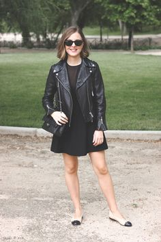 All black with ballet flats and leather jacket