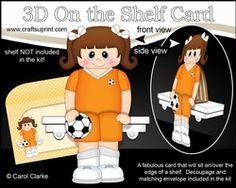 3D On The Shelf Card Kit - Little Footballer Emestina