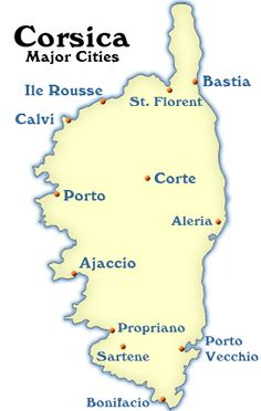 Travel Maps and Information for Visiting Corsica: Corsica Map: Cities to Visit in Corsica