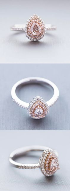 1.08CTW NATURAL PINK AND WHITE DIAMOND HALO ENGAGEMENT RING, PINK DIAMOND ENGAGEMENT RING,