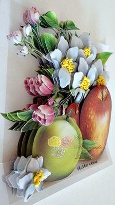 Arte Francesa by Valéria Castro (Paper Tole) Eminem, Mosaic Art, Flower Art, Paper Art, Decoupage, Frames, French Art, Cartonnage, French Tips