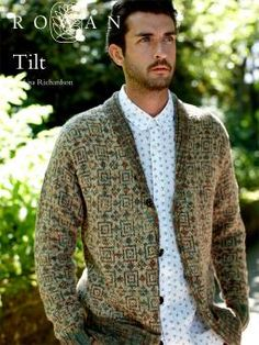 Tilt: a free faire isle knitted men's cardigan pattern by Lisa Richardson for Rowan Fair Isle Knitting, Hand Knitting, Laine Rowan, Lisa Richardson, Handgestrickte Pullover, Rowan Yarn, Collar Designs, Hand Knitted Sweaters, Sweater Design