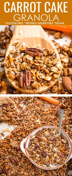 This Carrot cake granola is easy to make and is the perfect healthy breakfast or snack for spring and Easter. This delicious recipe refined sugar free, gluten free and made with grated carrots and the best cozy spices to satisfy any carrot cake craving. Casserole Recipes, Soup Recipes, Vegetarian Recipes, Chicken Recipes, Healthy Recipes, Potato Recipes, Pasta Recipes, Crockpot Recipes, Marsala