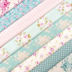 Colours // Tilda Country Escape Teal and Pink Fabric Pack x 8 Quilting Doll Rose Stripe Tela Shabby Chic, Shabby Chic Stoff, Shabby Chic Fabric, Shabby Chic Salon, Teal And Pink, Gorgeous Fabrics, Pink Fabric, Textiles, Fabric Patterns