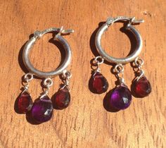 Sterling Silver Hoop Earrings with Amethyst and by nemesisjewelry, $30.00