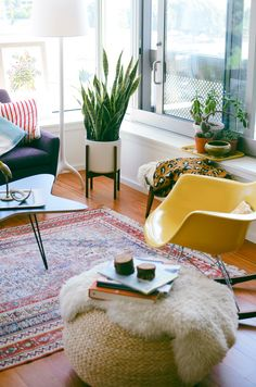 Green house plants, eclectic living room, white