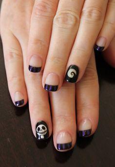 Candy Corn and Jack O' Lanterns! I used: Gelish Black Shadow, Finger Paints Rococo Orange, TruGel Marshmallow, Gelish Arctic Freeze and...