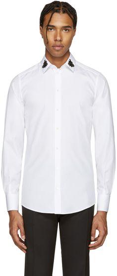 DOLCE & GABBANA White Embellished Bees Shirt. #dolcegabbana #cloth #shirt