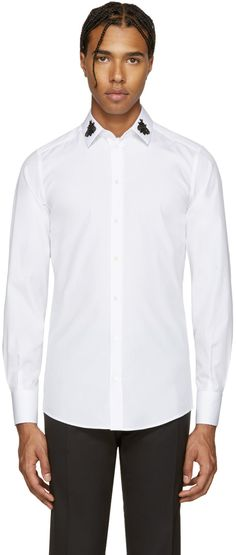 DOLCE & GABBANA White Embellished Bees Shirt. #dolcegabbana #cloth #shirt