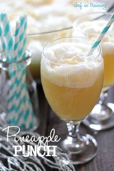 Pineapple Punch!.. Only 4 ingredients that combine to make a fruity, creamy and refreshing beverage. A definite crowd pleaser at parties!.