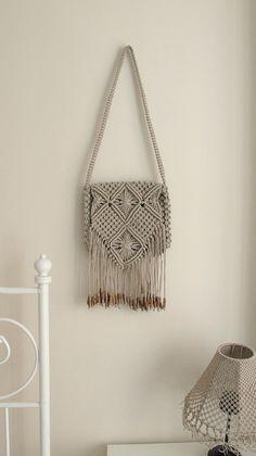 Handmade macrame hand bag Boho hand bag Medium White by WallKnot