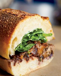 Vegetarian Sandwich from Rick Bayless - garlicky roasted mushrooms, tangy goat cheese, sharp arugula, and three-chili salsa Best Sandwich, Sandwich Recipes, Stuffed Mushrooms, Roasted Mushrooms, Garlic Mushrooms, Roasted Garlic, Man Food, Wrap Sandwiches, Mushroom Recipes