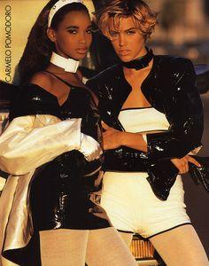 """""""It's Spring Again!"""", Elle US, February 1991Photographer: Gilles Bensimon Models: Stephanie Roberts & Emma Sjoberg"""
