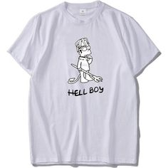 fb270d7b Hell Boy T-shirt Men Hip Hop Cool Skull Graphic Top Quality 100