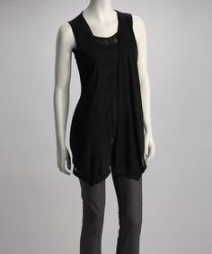 Take a look at this Black Lace Layered Sleeveless Top by A'reve on #zulily today!