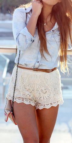 Crochet shorts + chambray