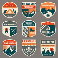 Retro camp badges | stock vector graphics Vector Illustration #vector #VectorArt #VectorIllustration