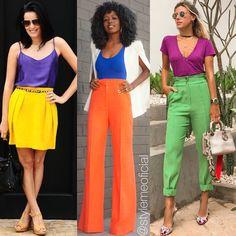 Pra você quer ousar mais um pouquinho nas cores, que tal investir nas combinações complementares? As cores complementares são aquelas combinações de cores opostas no círculo cromático. Deslize e veja pra entender porque o laranja e a azul combinam, assim como o verde e rosa também 😍 #StyleMELorrayneMaia #ConsultoriaDeImagem #Colors #ImagemPessoal Classy Business Outfits, Colourful Outfits, Fashion Pants, Chic Outfits, Dress Collection, Pretty Dresses, Color Combinations, Dress To Impress, Color Blocking