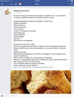 Cremora beskuit South African Dishes, South African Recipes, Different Recipes, Other Recipes, Microwave Chocolate Cakes, Rusk Recipe, Kos, Cooking Measurements, Cooking Recipes
